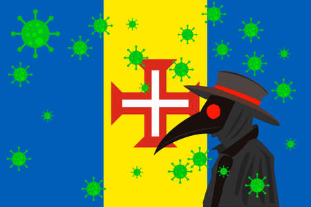 Black plague doctor surrounded by viruses with copy space with MADEIRA flag. 向量圖像