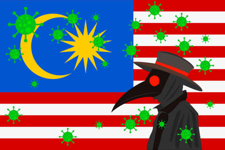 Black plague doctor surrounded by viruses with copy space with MALAYSIA flag.