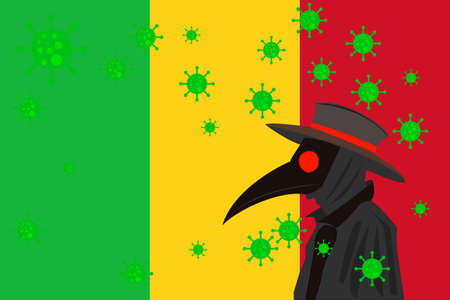 Black plague doctor surrounded by viruses with copy space with MALI flag. 向量圖像