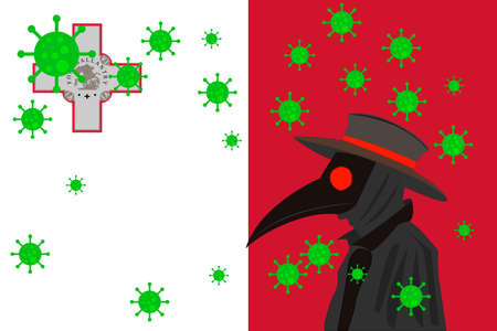 Black plague doctor surrounded by viruses with copy space with MALTA flag.