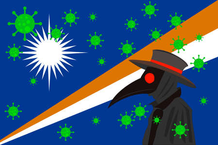 Black plague doctor surrounded by viruses with copy space with MARSHALL ISLANDS flag.