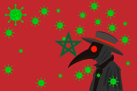 Black plague doctor surrounded by viruses with copy space with MOROCCO flag.