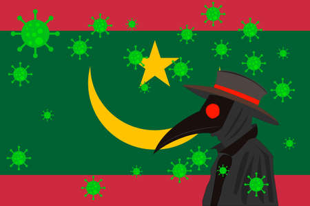 Black plague doctor surrounded by viruses with copy space with MAURITANIA flag.