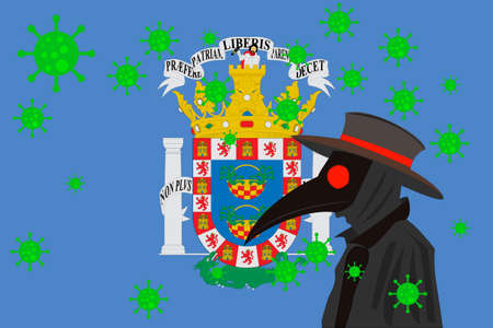 Black plague doctor surrounded by viruses with copy space with MELILLA flag.