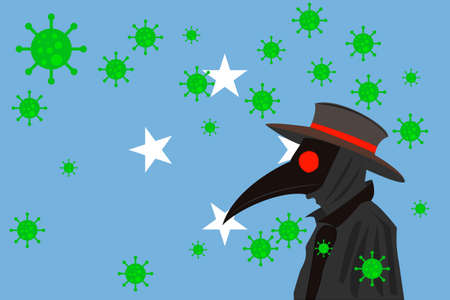 Black plague doctor surrounded by viruses with copy space with MICRONESIA flag. 向量圖像
