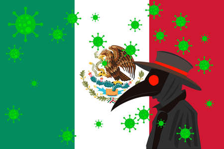 Black plague doctor surrounded by viruses with copy space with MEXICO flag.
