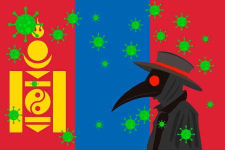 Black plague doctor surrounded by viruses with copy space with MONGOLIA flag.