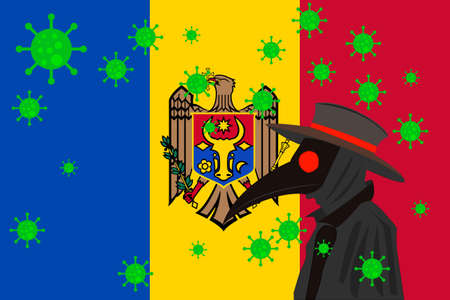 Black plague doctor surrounded by viruses with copy space with MOLDOVA flag.