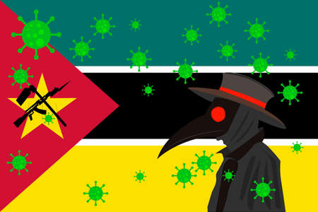 Black plague doctor surrounded by viruses with copy space with MOZAMBIQUE flag.