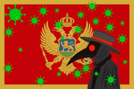 Black plague doctor surrounded by viruses with copy space with MONTENEGRO flag.