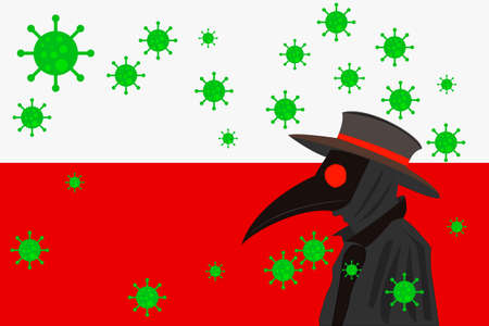 Black plague doctor surrounded by viruses with copy space with POLAND flag.
