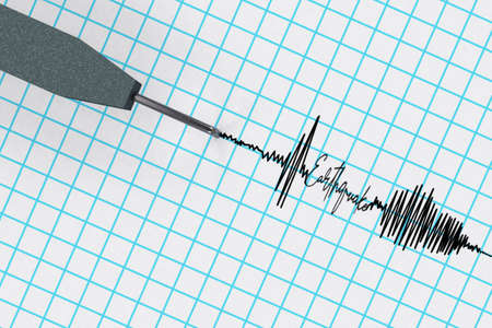 Seismograph tracing the curve that indicates seismic activity pen record the waves on the drum with word earthquake 3D RENDER.
