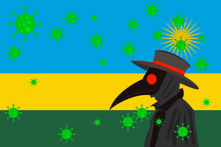 Black plague doctor surrounded by viruses with copy space with RWANDA flag.