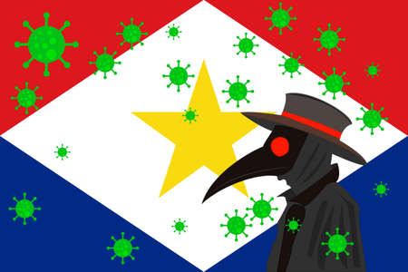 Black plague doctor surrounded by viruses with copy space with SABA ISLANDS flag. 向量圖像