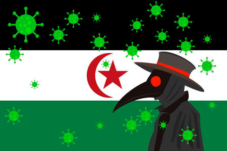 Black plague doctor surrounded by viruses with copy space with SAHRAWI ARAB DEMOCRATIC REPUBLIC flag.