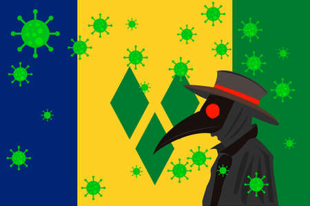 Black plague doctor surrounded by viruses with copy space with SAINT VINCENT AND THE GRENADINES flag. 向量圖像