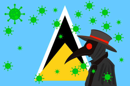 Black plague doctor surrounded by viruses with copy space with SAINT LUCIA flag.
