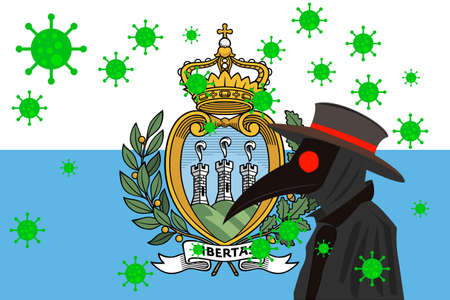 Black plague doctor surrounded by viruses with copy space with SAN MARINO flag. 向量圖像