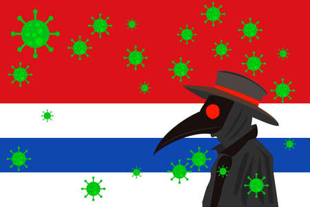 Black plague doctor surrounded by viruses with copy space with SAN BARTOLOME flag.