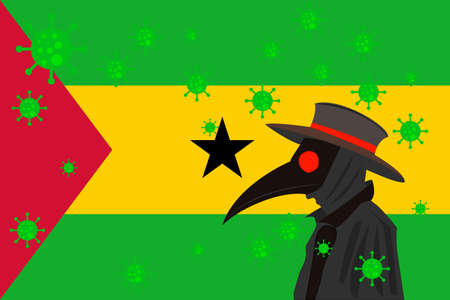 Black plague doctor surrounded by viruses with copy space with SAO TOME AND PRINCIPE flag. Ilustração