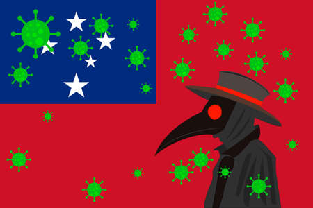 Black plague doctor surrounded by viruses with copy space with SAMOA flag.