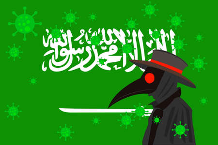 Black plague doctor surrounded by viruses with copy space with SAUDI ARABIA flag. 向量圖像