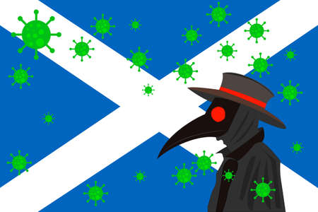 Black plague doctor surrounded by viruses with copy space with SCOTLAND flag. 向量圖像