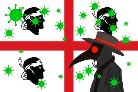 Black plague doctor surrounded by viruses with copy space with SARDINIA flag.