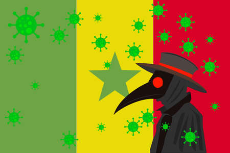 Black plague doctor surrounded by viruses with copy space with SENEGAL flag. 向量圖像