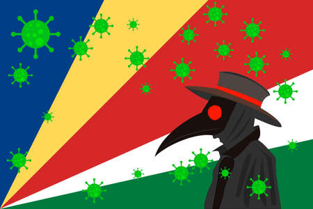 Black plague doctor surrounded by viruses with copy space with SEYCHELLES flag.