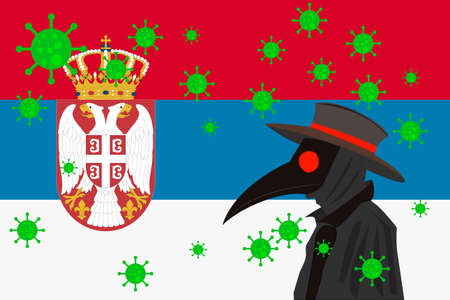 Black plague doctor surrounded by viruses with copy space with SERBIA flag.