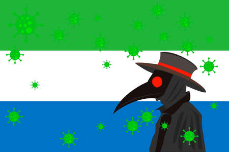 Black plague doctor surrounded by viruses with copy space with SIERRA LEONE flag.