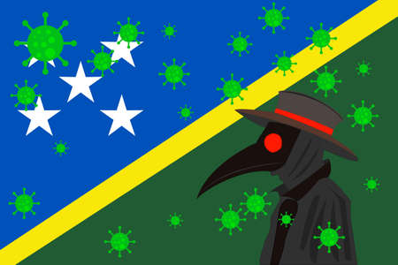 Black plague doctor surrounded by viruses with copy space with SOLOMON ISLANDS flag. 向量圖像