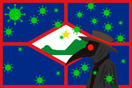 Black plague doctor surrounded by viruses with copy space with ST EUSTATIUS flag.