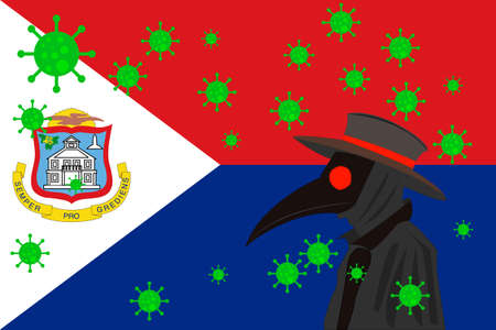 Black plague doctor surrounded by viruses with copy space with ST MAARTEN flag. 向量圖像