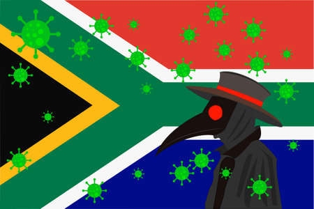 Black plague doctor surrounded by viruses with copy space with South Africa flag.