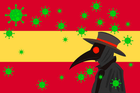 Black plague doctor surrounded by viruses with copy space with Spain flag.