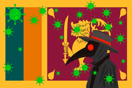 Black plague doctor surrounded by viruses with copy space with Sri Lanka flag.