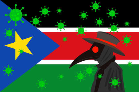 Black plague doctor surrounded by viruses with copy space with South Sudan flag.