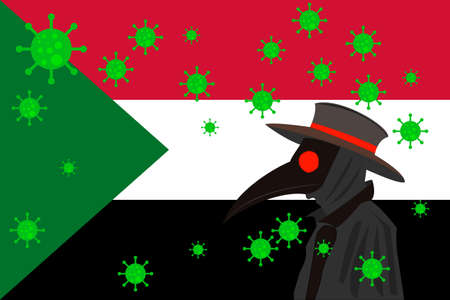Black plague doctor surrounded by viruses with copy space with Sudan flag.