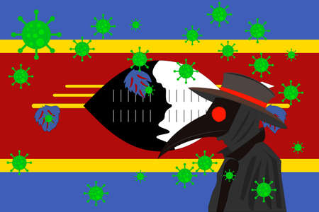 Black plague doctor surrounded by viruses with copy space with Swaziland flag.