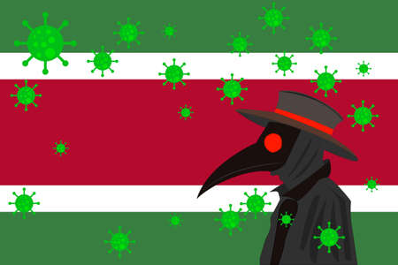 Black plague doctor surrounded by viruses with copy space with Suriname flag.