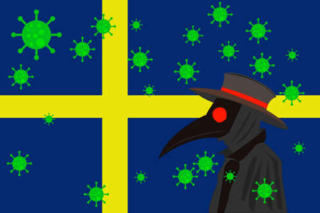 Black plague doctor surrounded by viruses with copy space with Sweden flag. 向量圖像