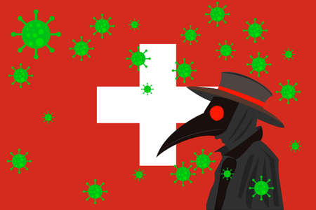 Black plague doctor surrounded by viruses with copy space with Switzerland flag.