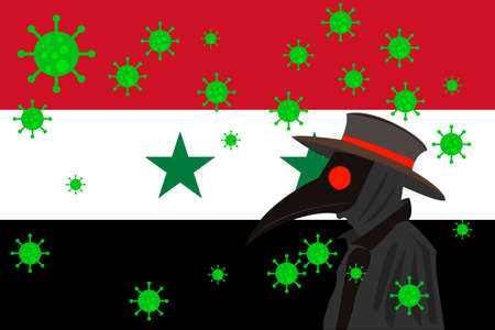 Black plague doctor surrounded by viruses with copy space with Syria flag.
