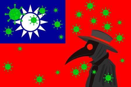 Black plague doctor surrounded by viruses with copy space with Taiwan flag.