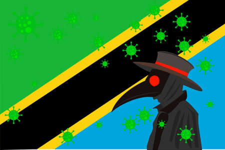 Black plague doctor surrounded by viruses with copy space with Tanzania flag.