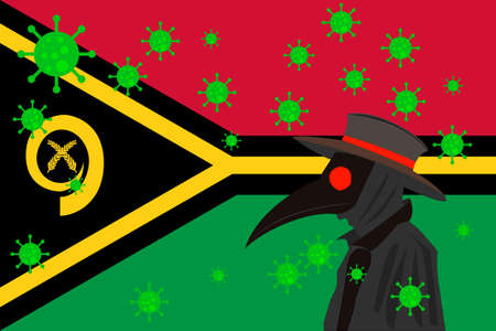 Black plague doctor surrounded by viruses with copy space with VANUATU flag.