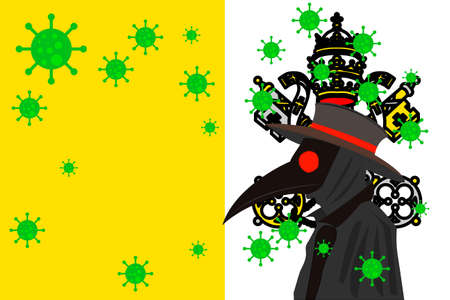 Black plague doctor surrounded by viruses with copy space with VATICAN CITY flag.