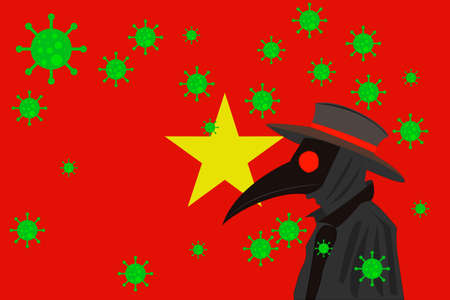 Black plague doctor surrounded by viruses with copy space with VIETNAM flag.
